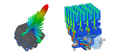 Optisys ANSYS simulation images showing Sum antenna pattern (left) and electric fields (right) on two antenna designs